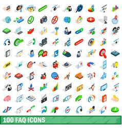 100 faq icons set isometric 3d style vector image