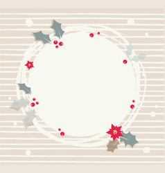 abstract wreath with red berries s round frame vector image