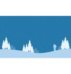Collection of winter people playing ski Christmas vector image vector image