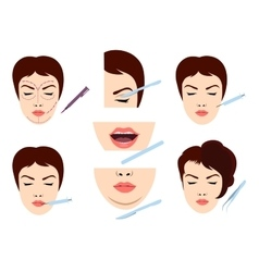 Facial cosmetic surgery icons vector image vector image