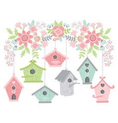 Flowers With Bird Houses vector image vector image