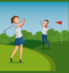 golf player doing a swing on the field vector image