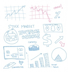 scribble finance icons vector image