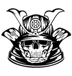 skull in samurai helmet vector image vector image