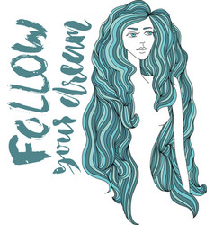 women with blue long hair girl face on white vector image
