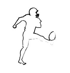 American footbal player quarterback helmet sketch vector