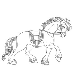 cartoon horse harnessed in harness runs forward vector image vector image
