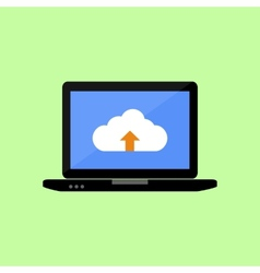 Flat style laptop with cloud uploading vector image