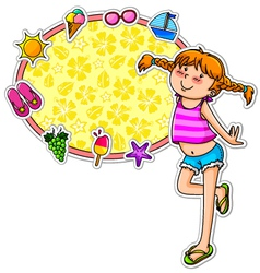 summer girl and icons vector image vector image