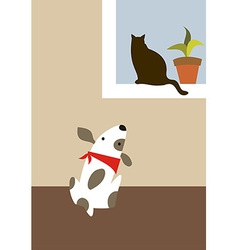 The dog and cat vector image