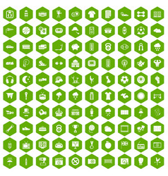 100 soccer icons hexagon green vector