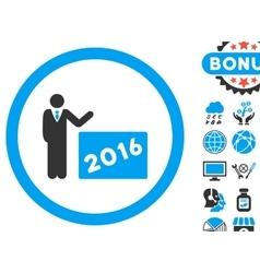 2016 Show Flat Icon with Bonus vector image