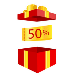50 off sale advertising banner with red gift box vector image