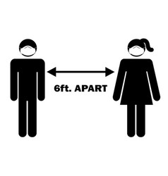 6 ft apart man woman stick figure with facial vector