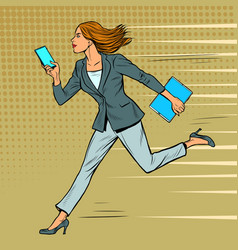 a businesswoman runs with a smartphone modern vector image