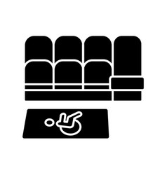 Accessible seating black glyph icon vector