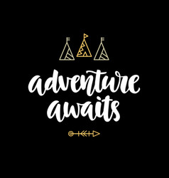 Adventure awaits hipster photo overlay vector