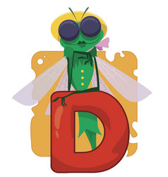 alphabet insect letter d vector image