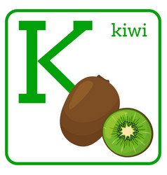 an alphabet with cute fruits letter k kiwi vector image