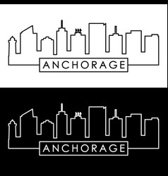 anchorage skyline linear style editable file vector image