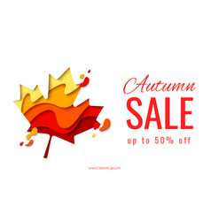Autumn sale template banner with maple leaf vector