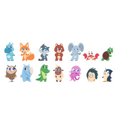 baby animals cute cartoon characters little vector image