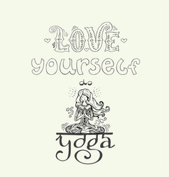 background with lettering - love yourself and yoga vector image