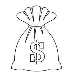 Bag with dollars icon outline style vector image