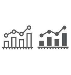 bar chart analytics line and glyph icon business vector image