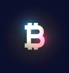 bitcoin symbol on dark blue background vector image