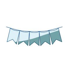 Blue shading silhouette of festoons in shape of vector