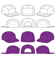 Camp cap fashion flat sketch template vector