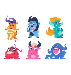 cartoon monsters cute little angry animals vector image