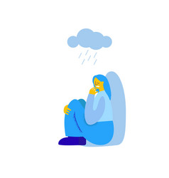 Character girl experiences loneliness over a cloud vector