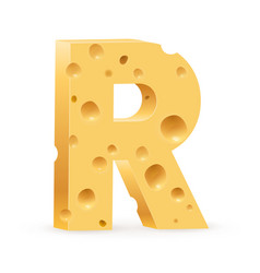 Cheese font r letter on white vector