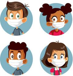 Children wearing medical face masks avatars set vector
