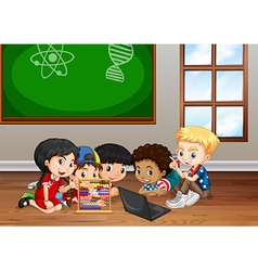 Children working in classroom vector
