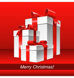 christmas background with white gift box vector image