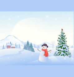 christmas morning snowman vector image