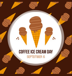Coffee ice cream day card vector