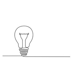 continuous one line drawing of electric light vector image