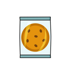 Cookie with chocolate chips in individual package vector