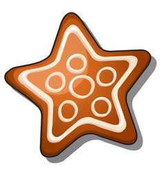 cookies in shape a star with icing isolated vector image