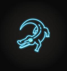 Crocodile animal icon in glowing neon style vector