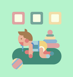 Cute baby playing geometry flat vector