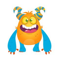 Cute cartoon silly horned monster vector