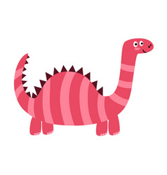 cute dinosaur with long neck isolated element vector image