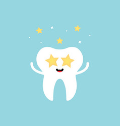 Cute impressed celebrating tooth character vector
