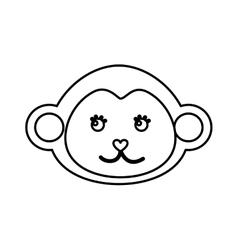 Cute monkey animal isolated icon vector