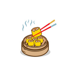 Dim sum chinese food with chopstick vector
